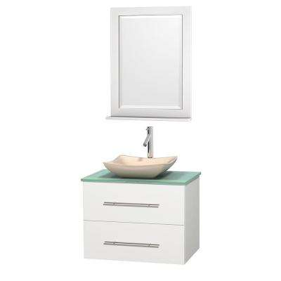 Centra 30 in. Vanity in White with Glass Vanity Top in Green, Ivory Marble Sink and 24 in. Mirror