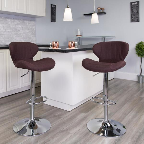 Flash Furniture Adjustable Height Brown Cushioned Bar Stool CH321BRNFAB