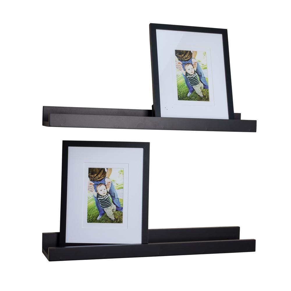 DANYA B Contempo 21.5 in. W x 2 in. H Black MDF Ledge Shelves (Set ...