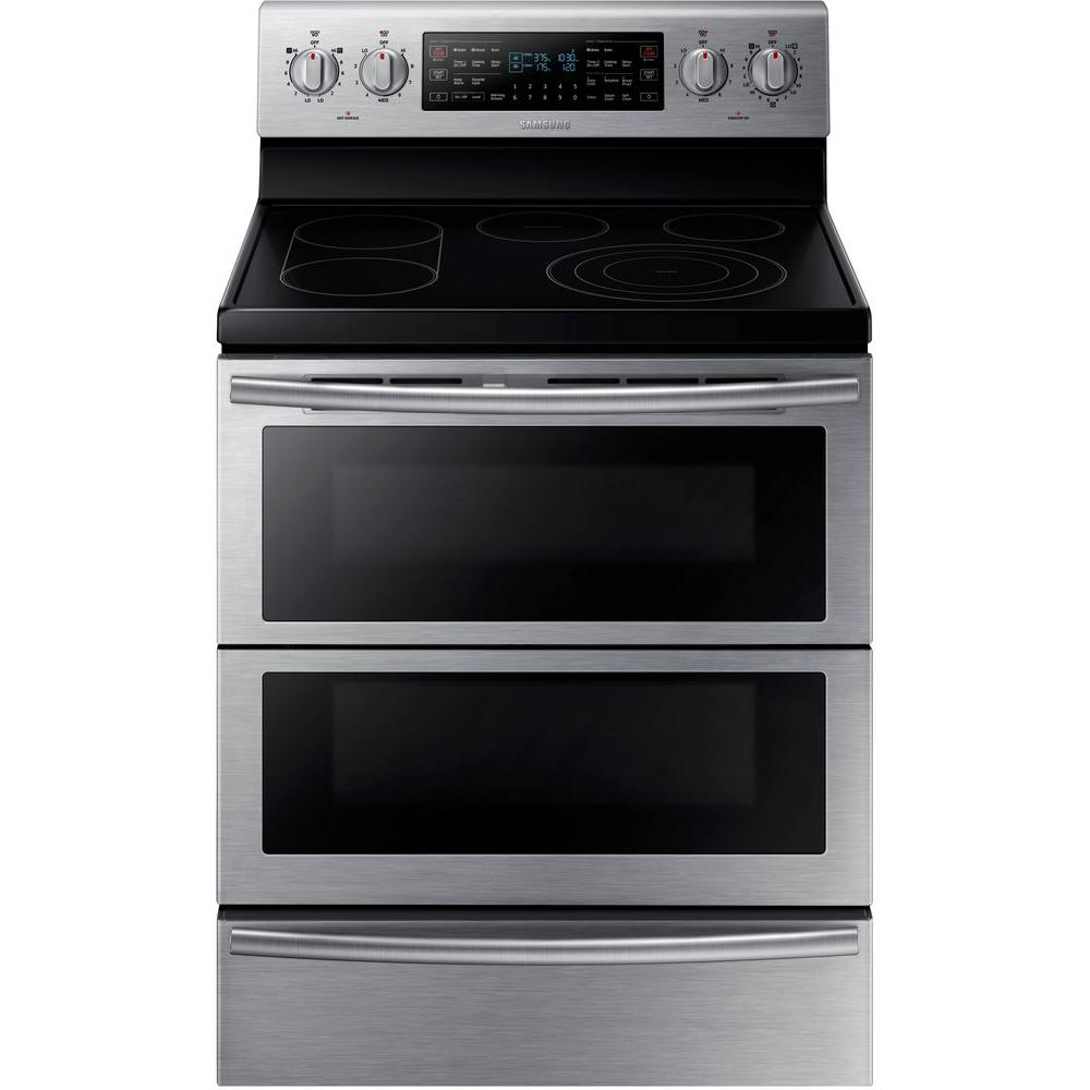 Samsung 30 In 59 Cu Ft Flex Duo Double Oven Electric Range With