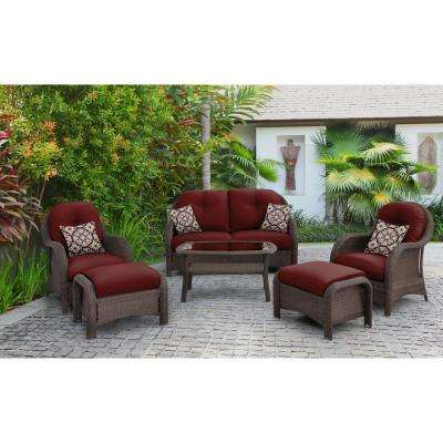 Hanover Newport 6-Piece Steel Patio Conversation Set with Crimson Red Cushions