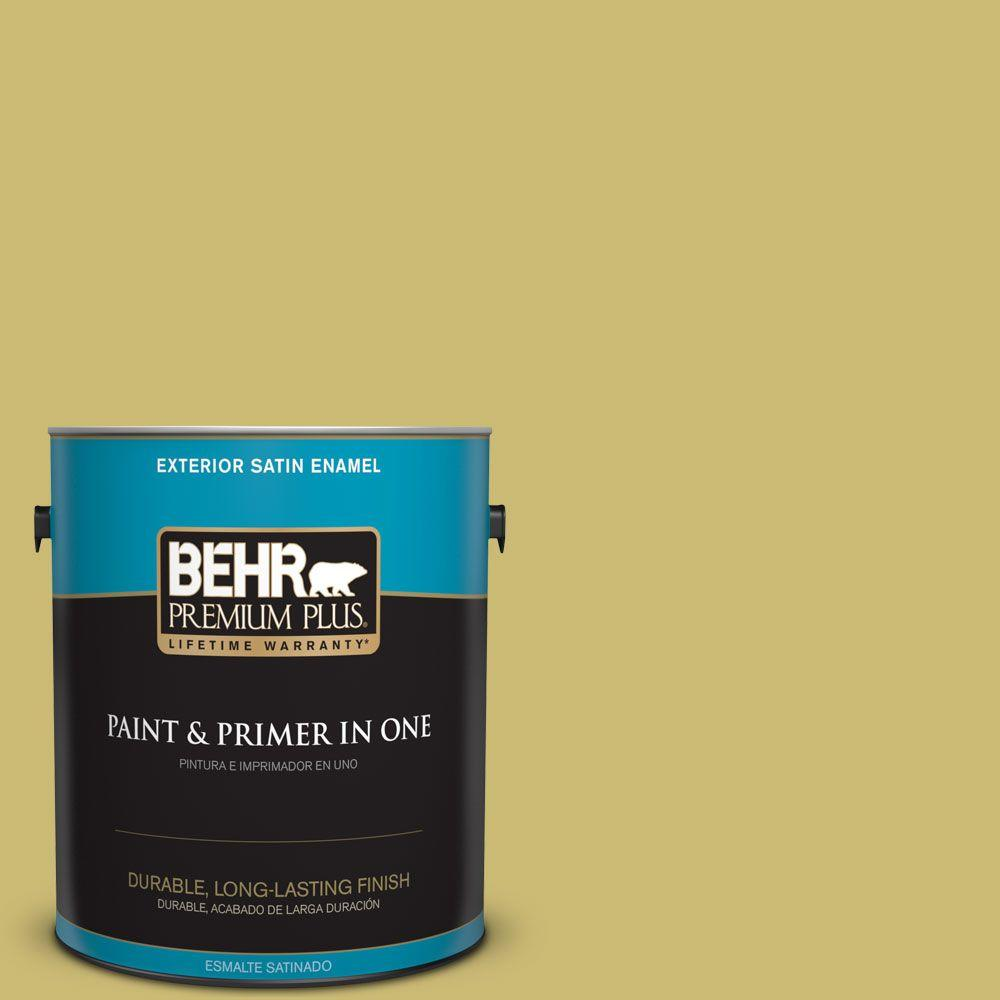 1 gal. #HDC-SP16-02 Pistachio Shortbread Satin Enamel Exterior Paint