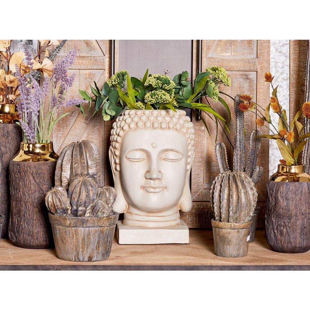 16 in. x 9 in. White Fiber Clay Buddha Head Planter