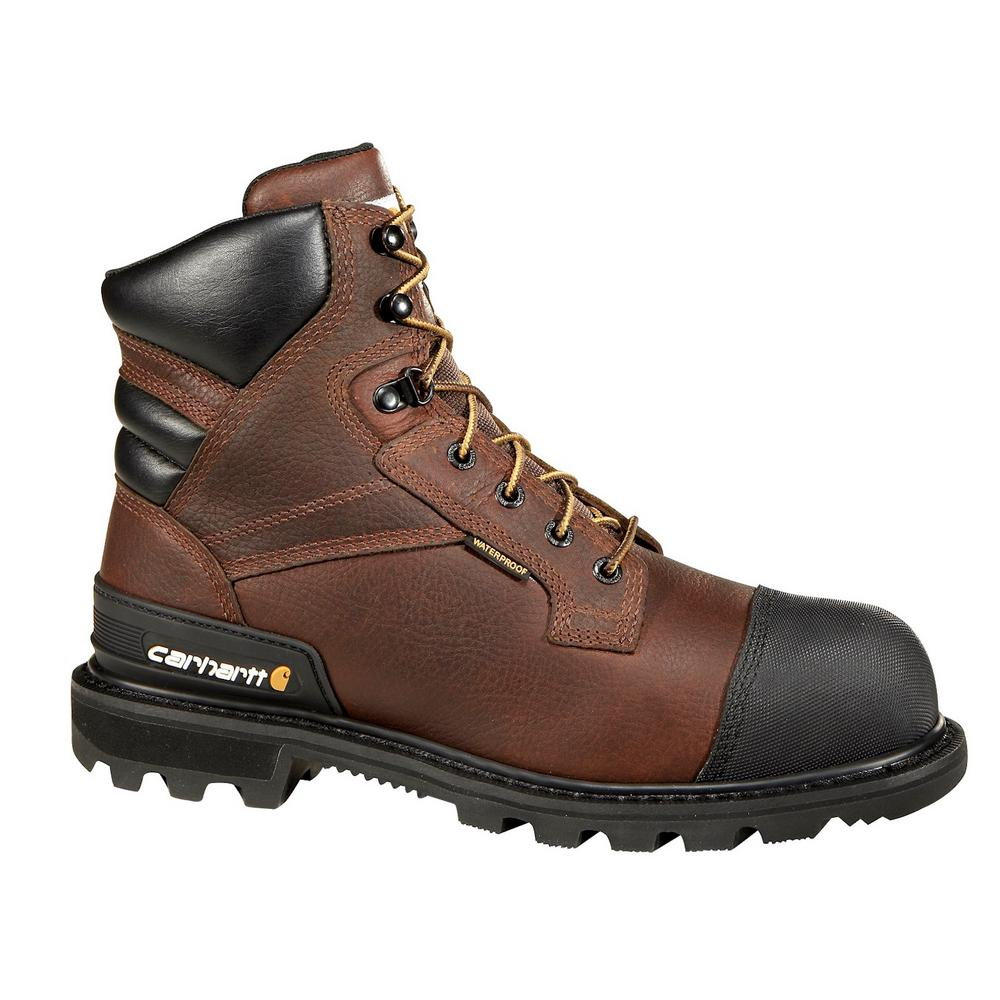 Puncture Resistant Men's 10W Brown Leather Waterproof Insulated Steel Safety Toe