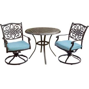 Traditions 3-Piece Aluminum Outdoor Bistro Set with 2 Swivel Rockers, Protective Cover and Ocean Blue Cushions