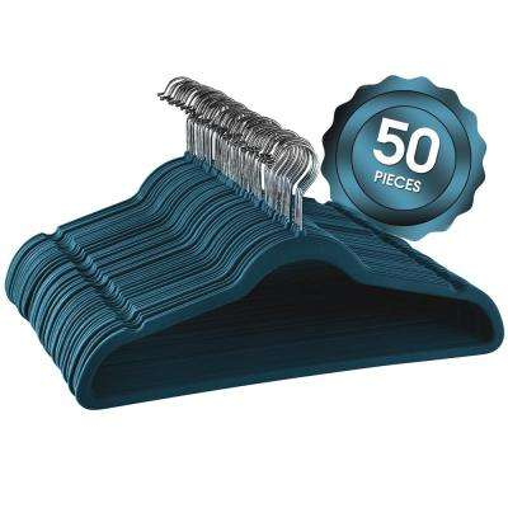 Velvet Slim Profile Blue Clothes Hangers with Stainless Steel Swivel Hooks (50-Pack)