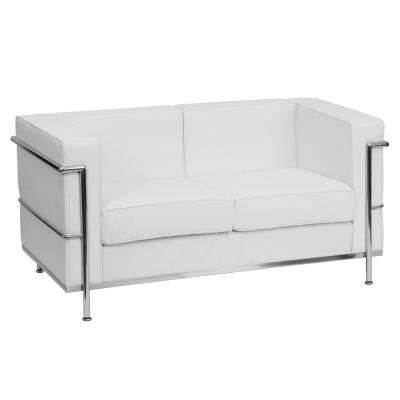 Hercules Regal Series Contemporary White Leather Loveseat With Encasing  Frame