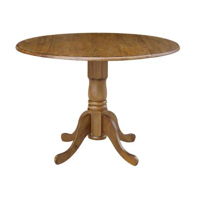 Distressed Pecan Solid Wood Dropleaf Dining Table