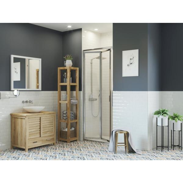 Paragon 34 in. to 34.75 in. x 70 in. Framed Bi-Fold Double Hinged Shower Door in Chrome and Clear Glass