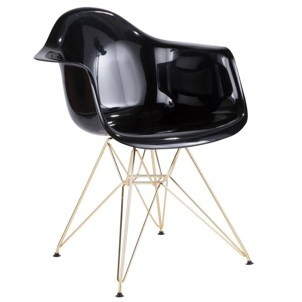 lumisource neo flair black and gold dining accent chair ch nflabs bk au the home depot. Black Bedroom Furniture Sets. Home Design Ideas