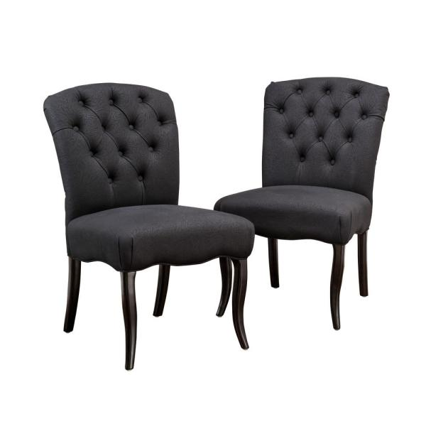 Hallie Black Scroll Fabric Tufted Dining Chair (Set of 2)