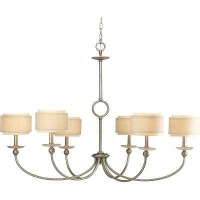 Ashbury Collection 6-Light Silver Ridge Chandelier with Shade with Toasted Linen Shade