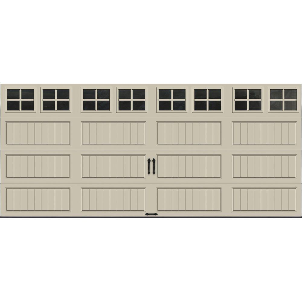 Clopay Gallery Collection 16 ft. x 7 ft. 6.5 R-Value Insulated Desert Tan Garage Door with SQ22 Window