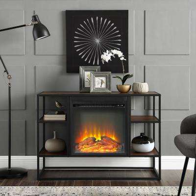 40 in. Dark Walnut Metal and Wood Open-Shelf Fireplace Console