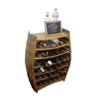 36 in. H x 26 in. W Lacquer Whole Barrel Wine Rack with Counter Top Holds 36-Bottles