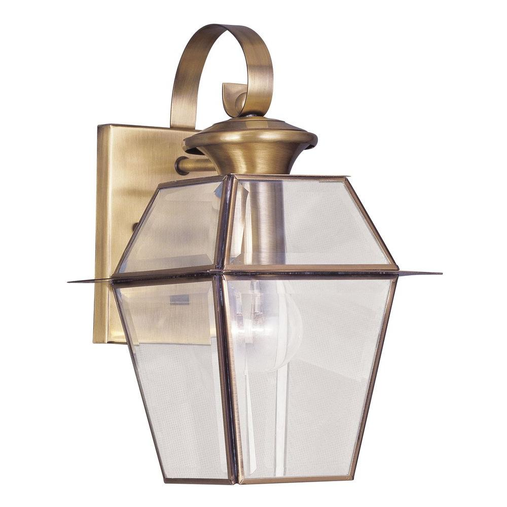 Livex Lighting 1-Light Antique Brass Outdoor Wall Lantern Sconce with Clear Beveled Glass