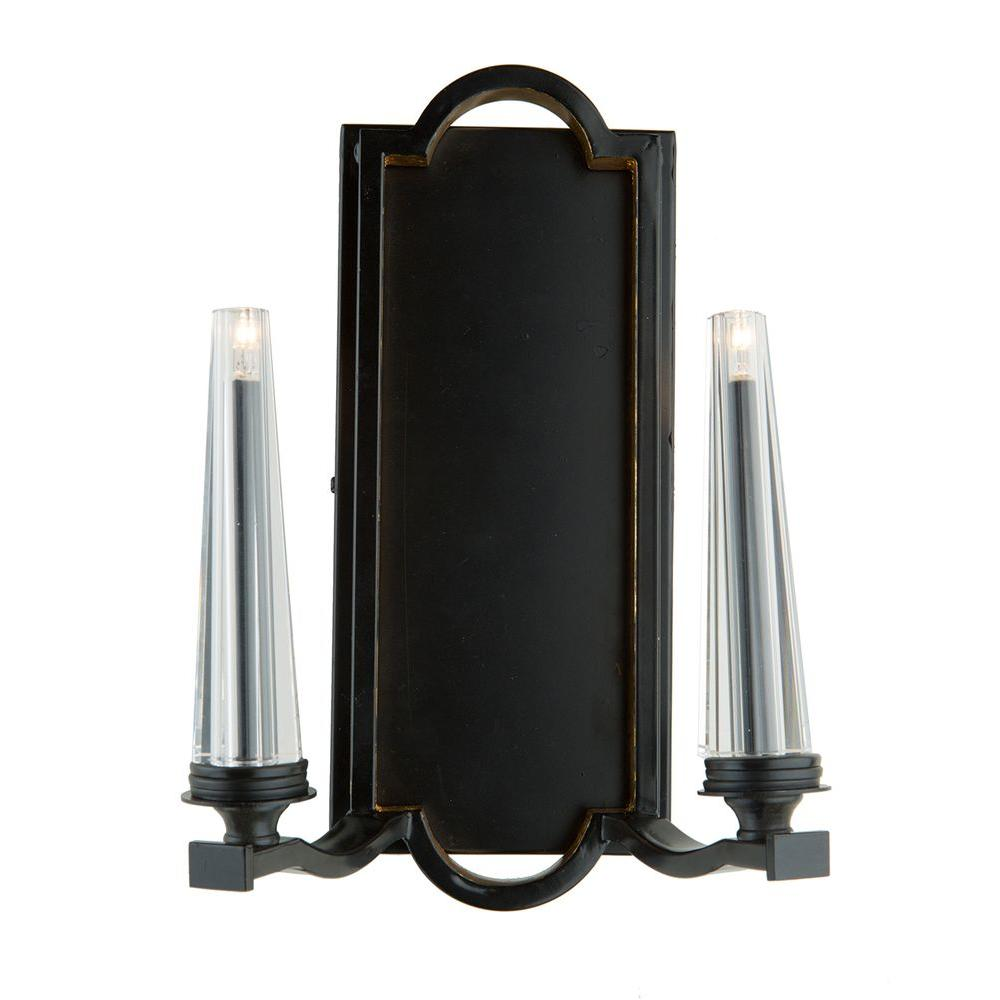 2-Light Oil Rubbed Bronze and Gold Leaf Sconce