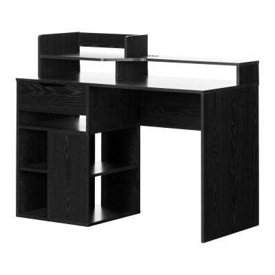 Holland Black Oak Desk with Hutch and Storage
