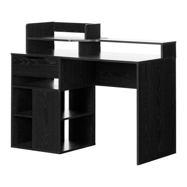 Tremendous South Shore Holland Black Oak Desk With Hutch And Storage Download Free Architecture Designs Scobabritishbridgeorg