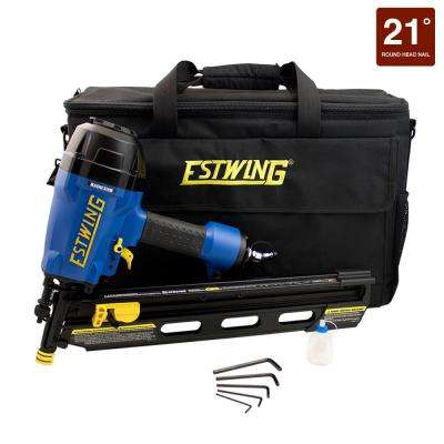 Pneumatic 21 degrees  Full Head Framing Nailer with Padded Bag