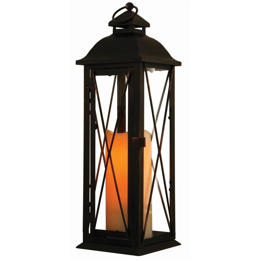 Antique Brown Led Lantern With Timer Candle