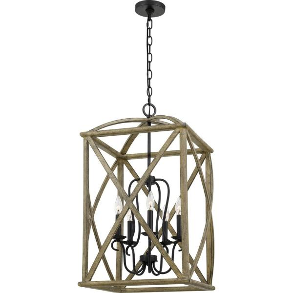 Woodhaven 5-Light Distressed Weathered Oak Pendant