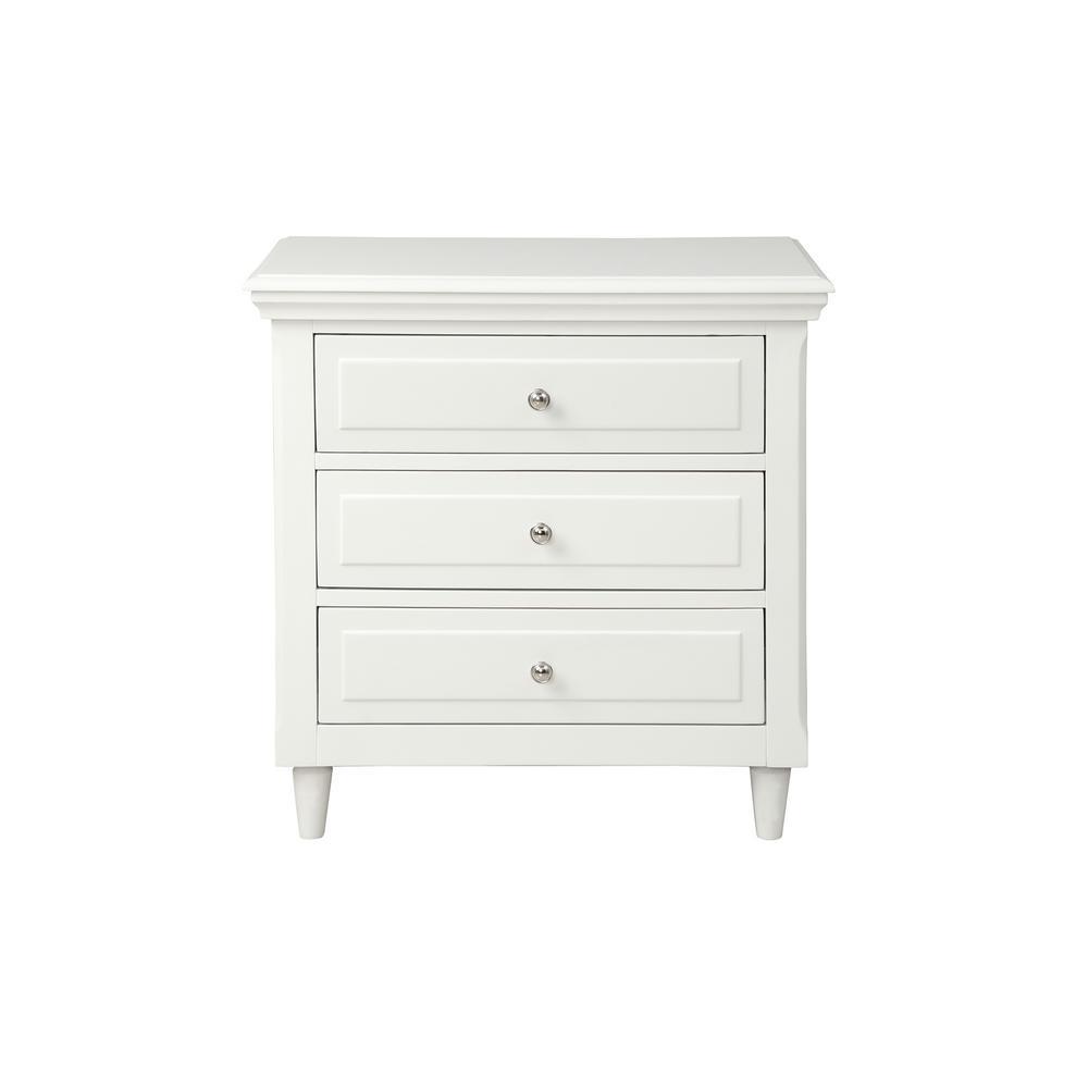 3-Drawers White Wickes Nightstand