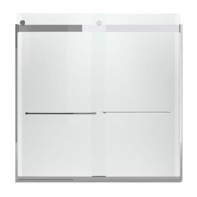 Levity 57 in. x 59.75 in. Semi-Frameless Sliding Tub Door in Silver with Handle