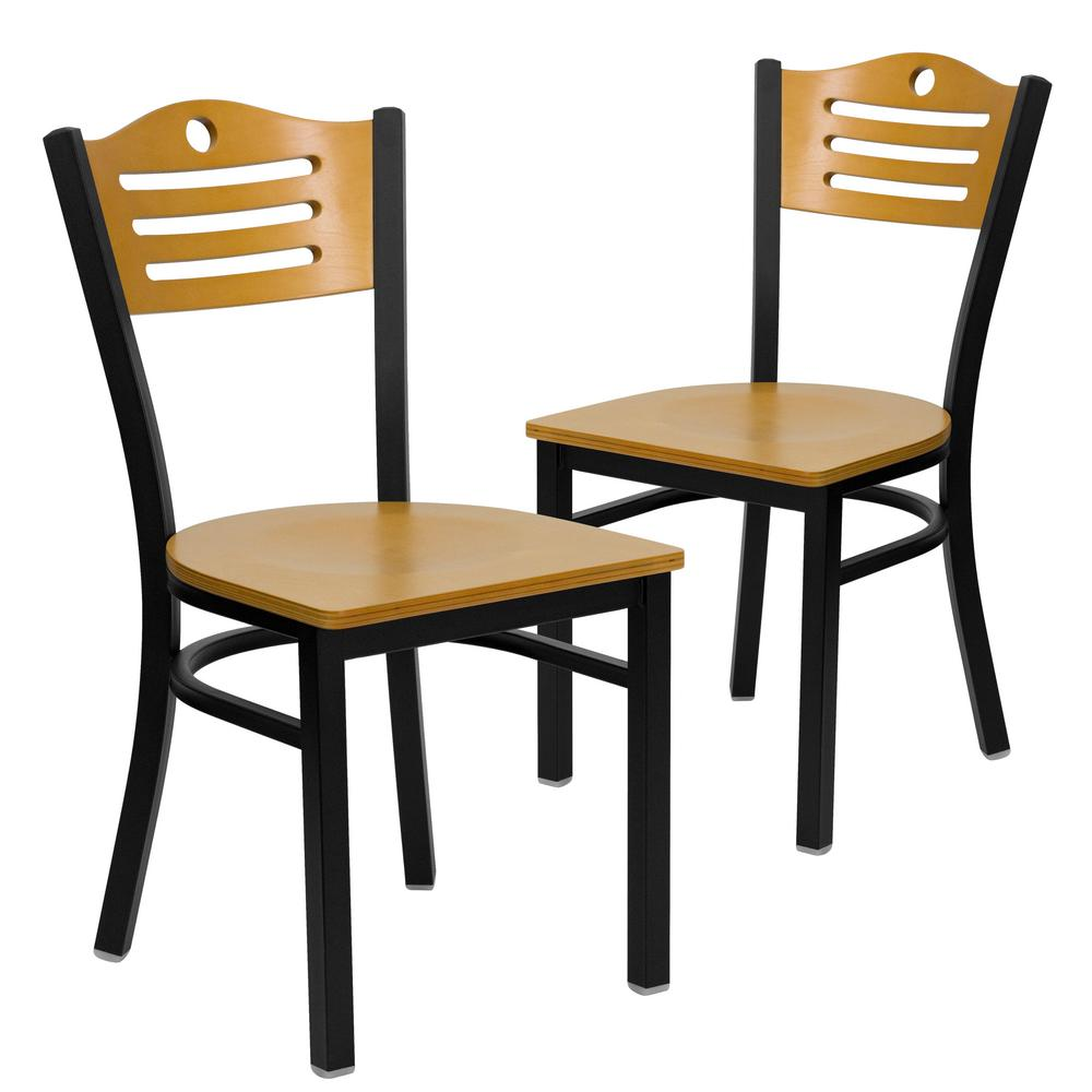 Carnegy Avenue Carnegy Avenue Natural Wood Back/Natural Wood Seat/Black Metal Frame Restaurant Chairs (Set of 2)