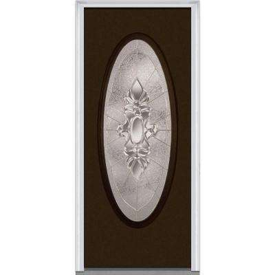 30 in. x 80 in. Heirloom Master Left-Hand Inswing Oval Lite Decorative Painted Fiberglass Smooth Prehung Front Door