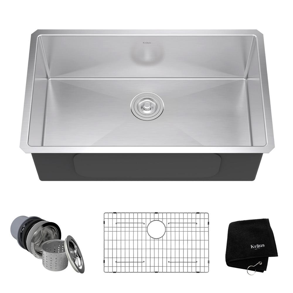 KRAUS Undermount Stainless Steel 30 in. Single Bowl Kitchen Sink Kit ...