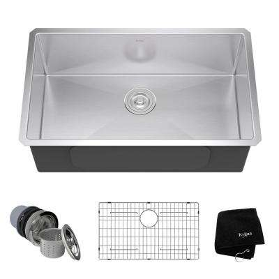 Undermount Stainless Steel 30 in. Single Basin Kitchen Sink Kit
