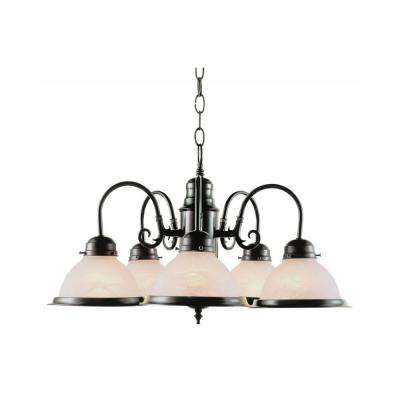 Cabernet Collection 5-Light Oiled Bronze Chandelier with Marbleized Glass