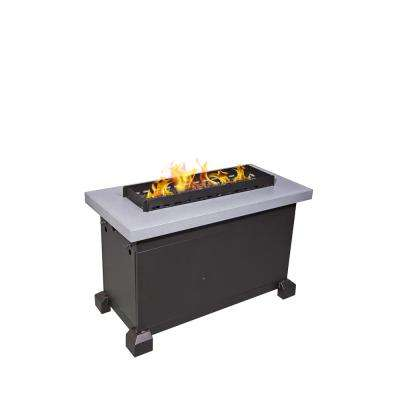 Monterey Propane Gas Fire Pit in Gray with Windscreen