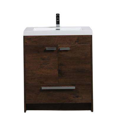 Lugano 30 in. W x 19 in. D x 34 in. H Vanity in Rosewood with Acrylic Vanity Top in White with White Basin