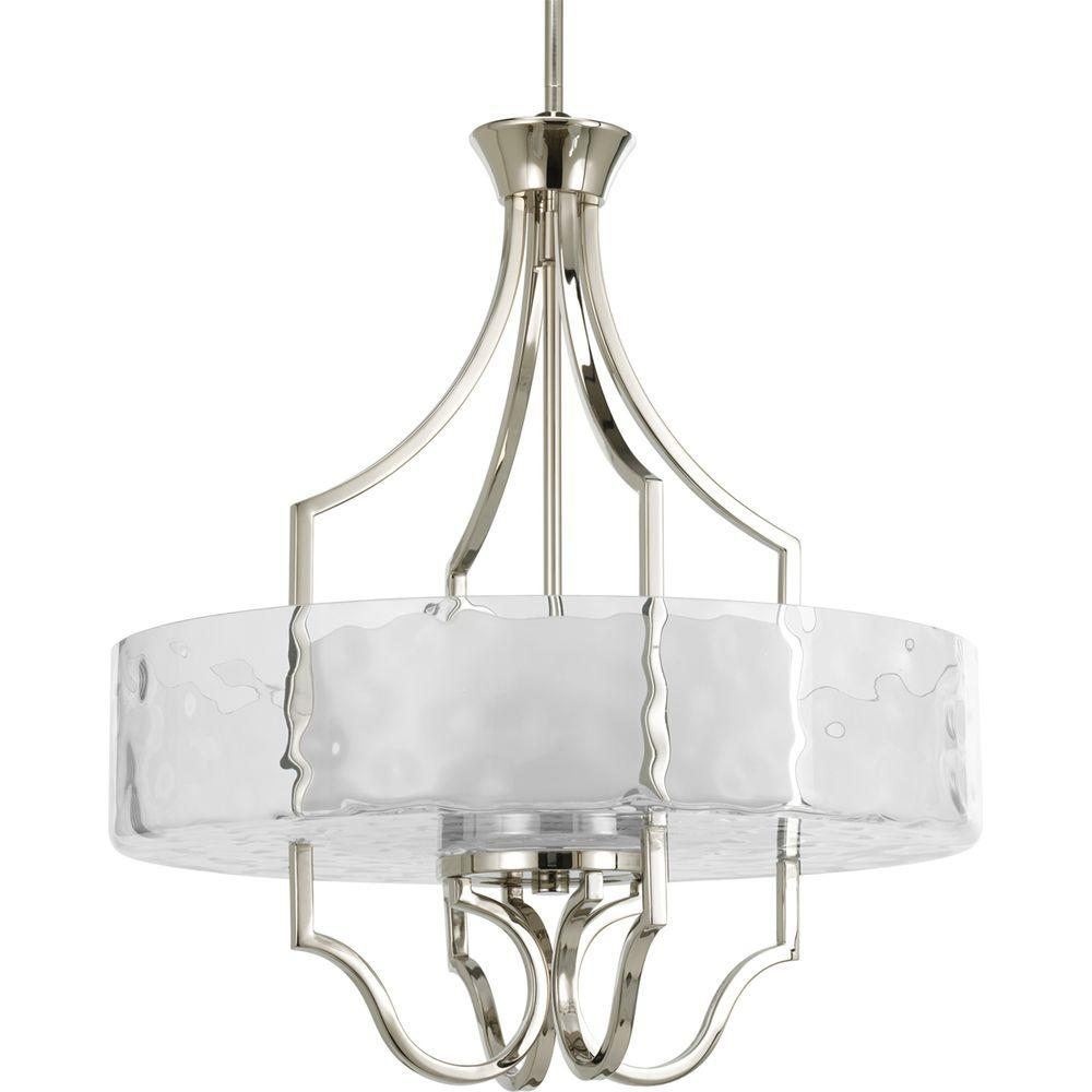Progress Lighting Caress Collection 3-Light Polished Nickel Foyer Pendant