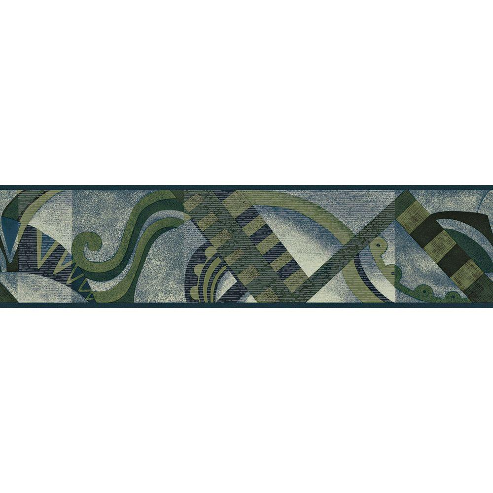 The Wallpaper Company 5.13 in. x 15 ft. Blue And Green Jewel Tone Geometric Scroll Border
