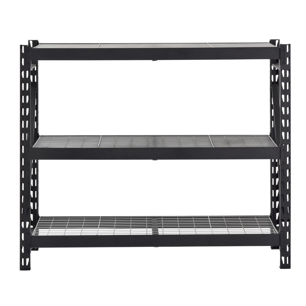 Husky 65 in. W x 54 in. H x 24 in. D 3-Shelf Welded Steel Garage Storage Shelving Unit with Wire Deck in Black