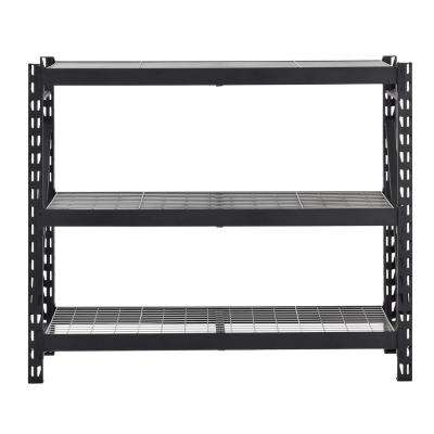 65 in. W x 54 in. H x 24 in. D 3-Shelf Welded Steel Garage Storage Shelving Unit with Wire Deck in Black