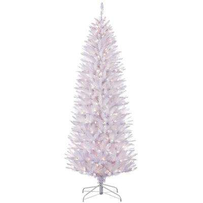 7.5 ft. Pre-Lit Incandescent White Pencil Fraser Fir Artificial Christmas Tree with 350 UL-Listed Clear Lights