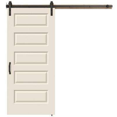 36 in. x 84 in. Rockport Primed Smooth Molded Composite MDF Barn Door with Rustic Hardware Kit