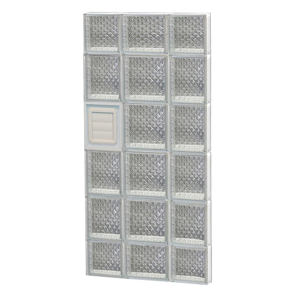 Clearly Secure 19.25 in. x 42.5 in. x 3.125 in. Frameless Diamond Pattern Glass Block Window with Dryer Vent