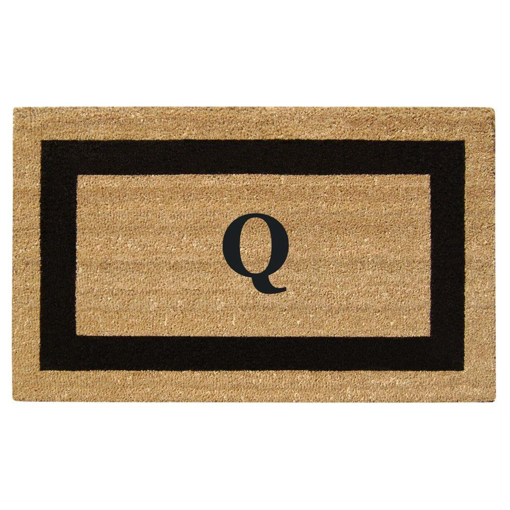 Creative Accents Single Picture Frame Black 22 in. x 36 in. HeavyDuty SuperScraper Vinyl Coir Monogrammed Q Door Mat