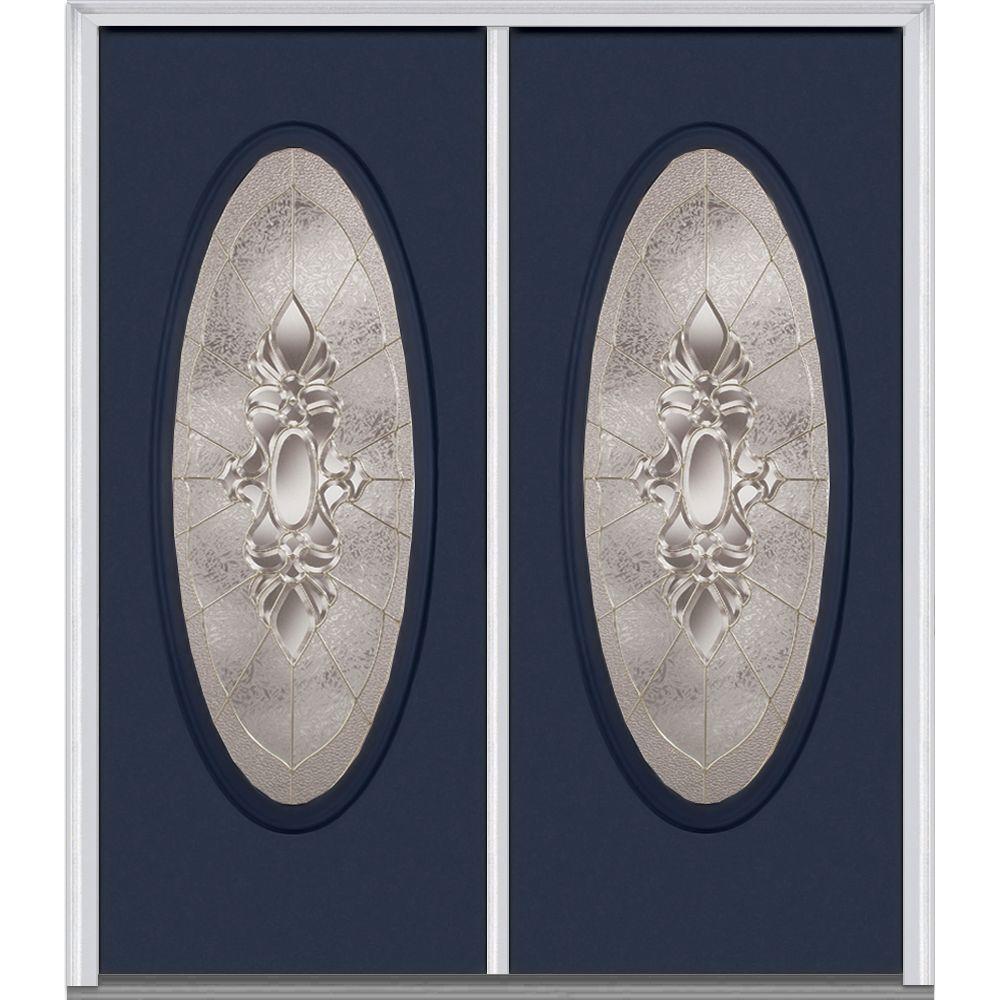 Mmi Door 60 In X 80 In Heirlooms Left Hand Inswing Oval Lite Decorative Glass Painted Steel Prehung Front Door