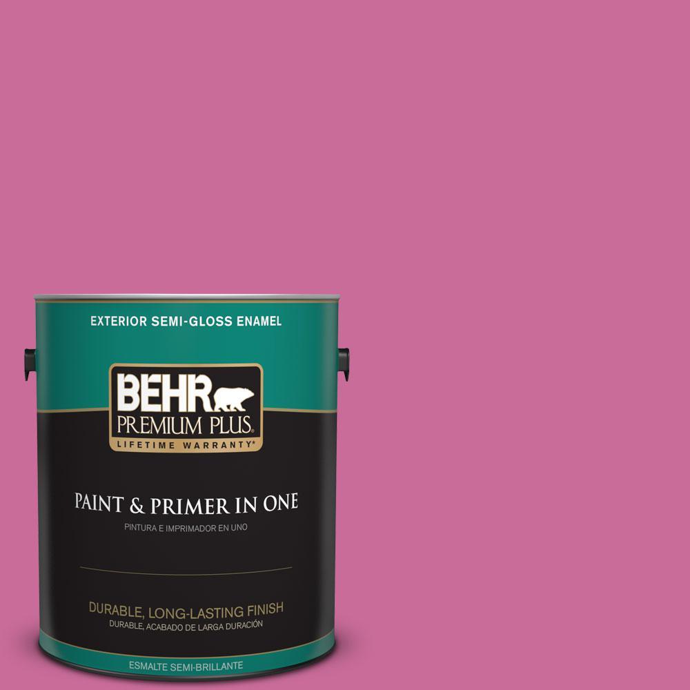 BEHR Premium Plus 1-gal. #100B-6 Fuchsia Kiss Semi-Gloss Enamel Exterior Paint