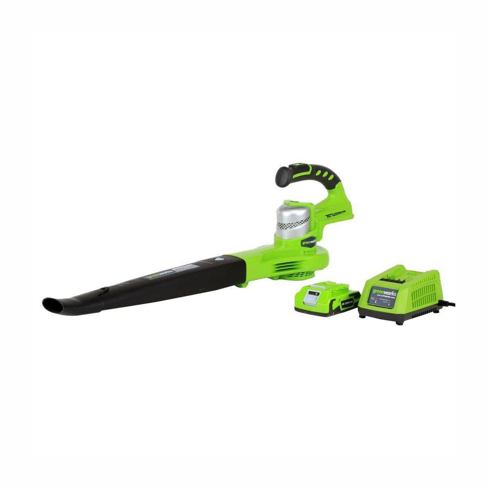 Greenworks G-24 130 MPH 135 CFM 24-Volt Cordless Handheld Leaf Blower - Battery and Charger Included