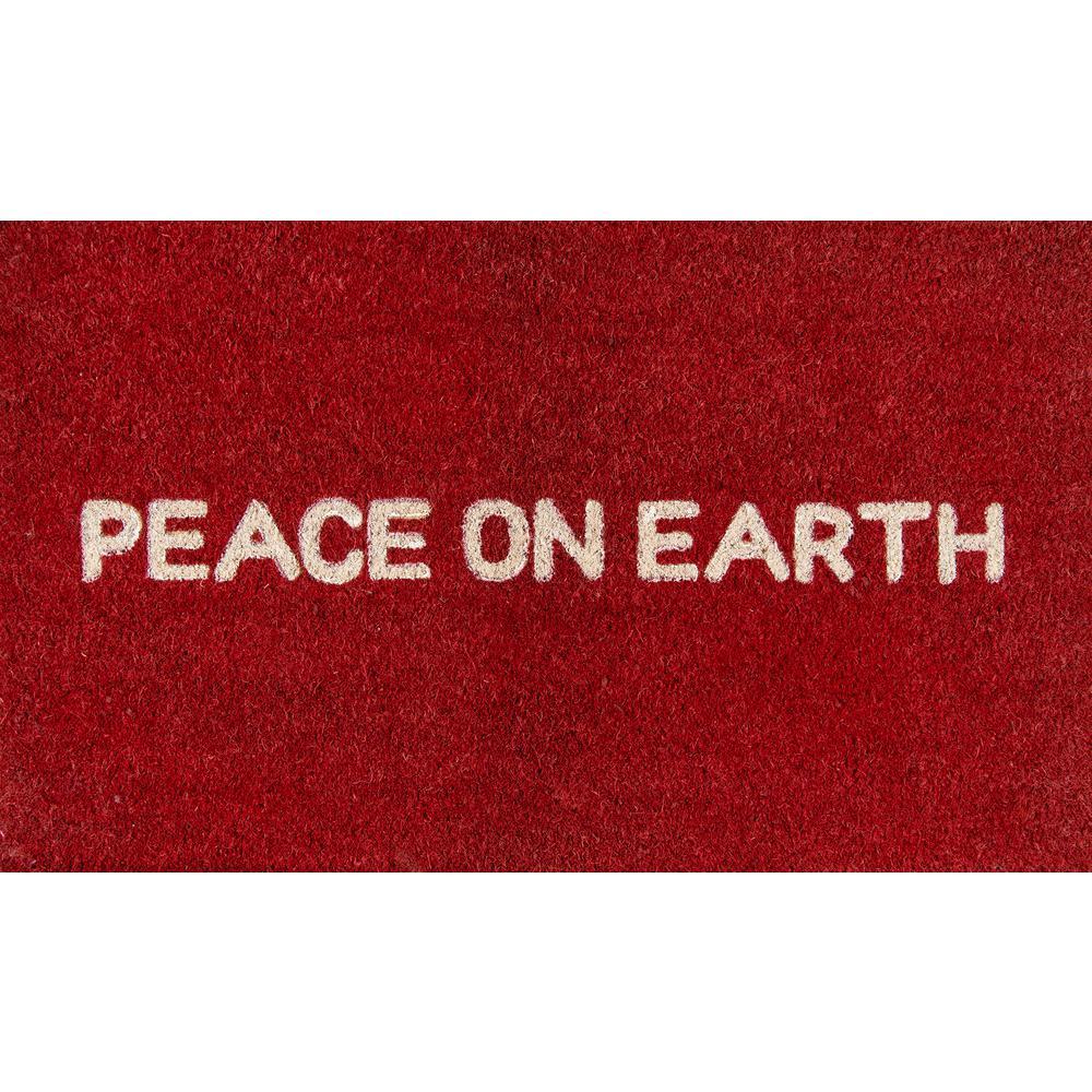 Peace On Earth Red 18 In. X 30 In. Door Mat