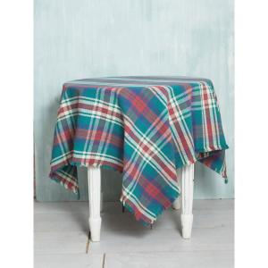 54 in. x 54 in. Afternoon Blues Plaid Tablecloth