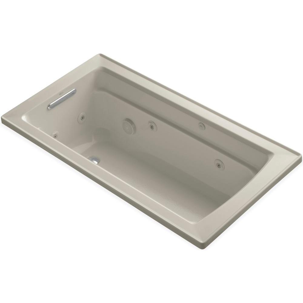 Archer 5 ft. Acrylic Rectangular Drop-in Whirlpool Bathtub in Sandbar