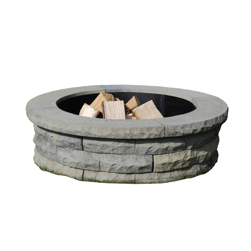 Nantucket Pavers Ledgestone 47 in. Concrete Fire Pit Ring Kit Gray Variegated